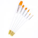 6Pcs Artist Painting Brush Set (round and flat head)