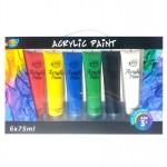 6*75ml Acrylic Paint Tube